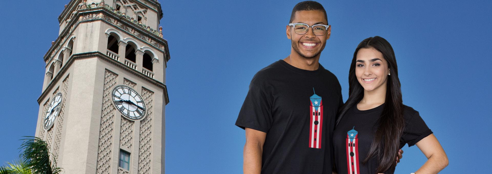 estudiantes con tshirt torre y bandera puerto rico