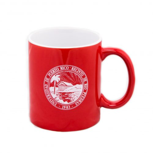 taza roja sello